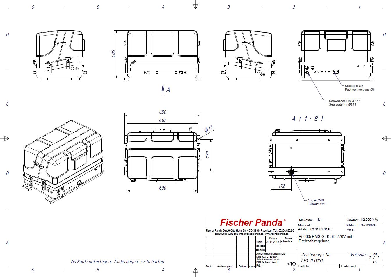 Marine Ac Generators Technical Specifications From Fischer Porch Lift Wiring Diagram Panda Diagrams 2000 Kia